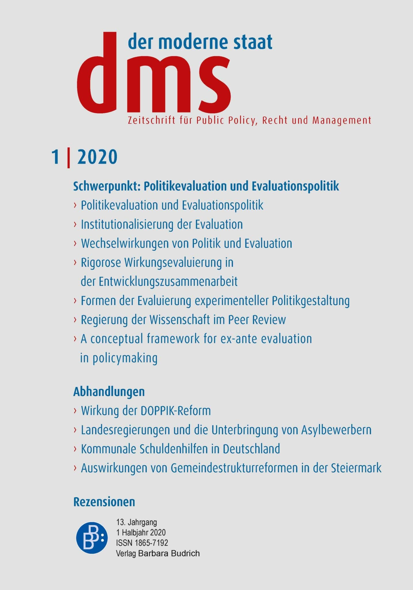 dms – der moderne staat – Zeitschrift für Public Policy, Recht und Management 1-2020: Politikevaluation und Evaluationspolitik