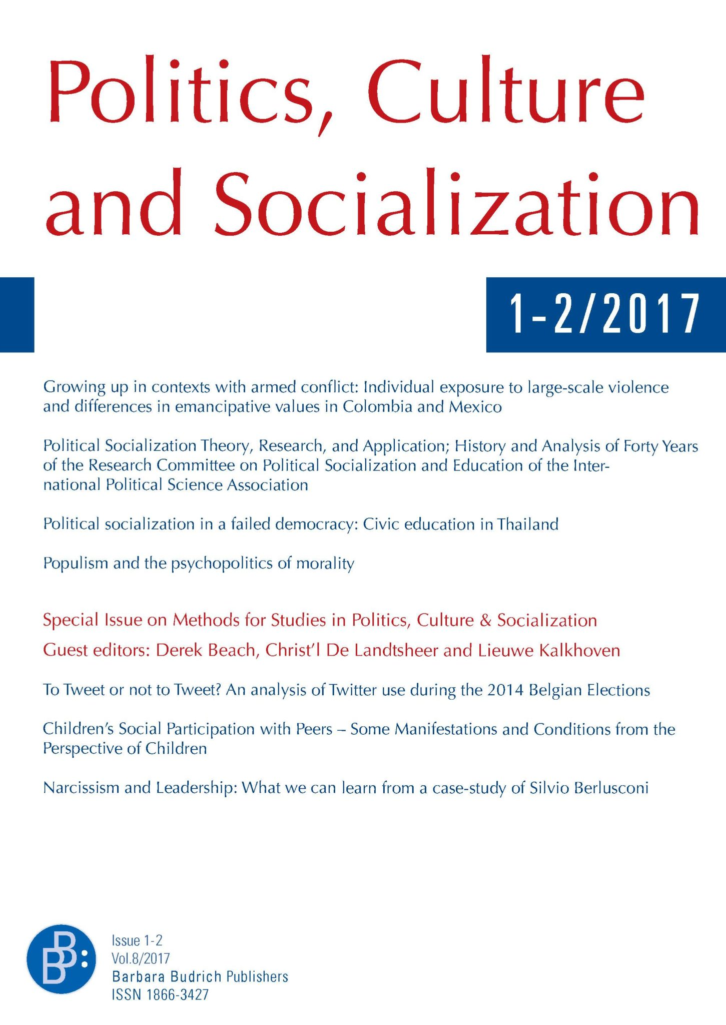 PCS – Politics, Culture and Socialization 1+2-2017: Methods for Studies in Politics, Culture & Socialization (II)