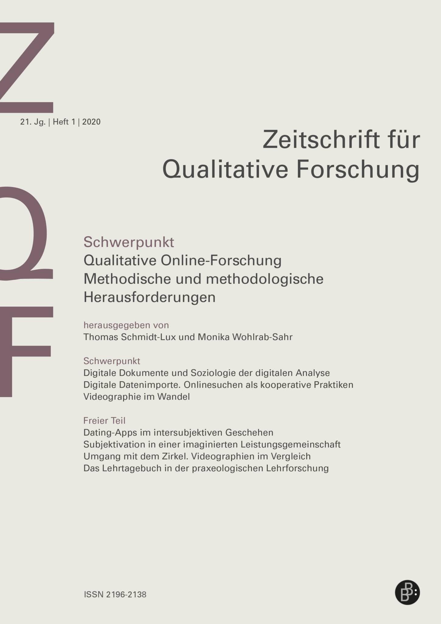 ZQF – Zeitschrift für Qualitative Forschung 1-2020: Qualitative Online-Forschung: Methodische und methodologische Herausforderungen