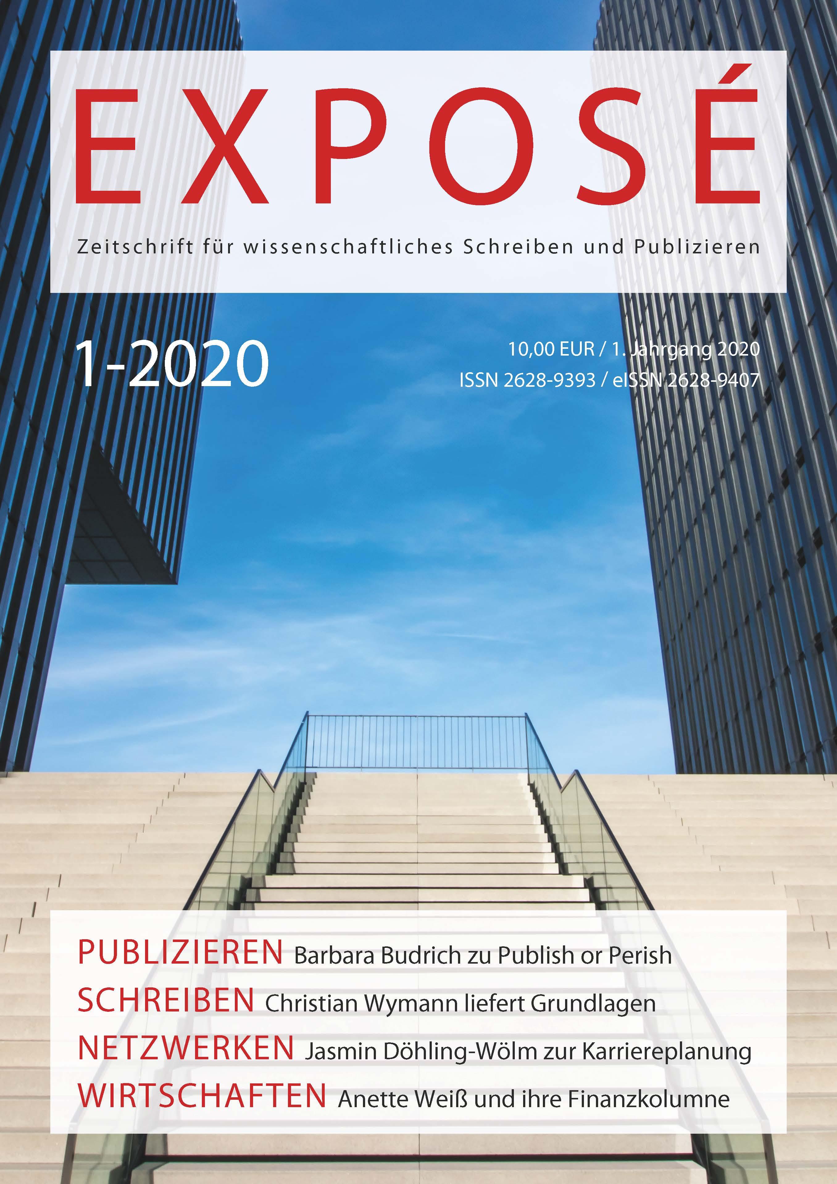 Exposé – Zeitschrift für wissenschaftliches Schreiben und Publizieren 1-2020