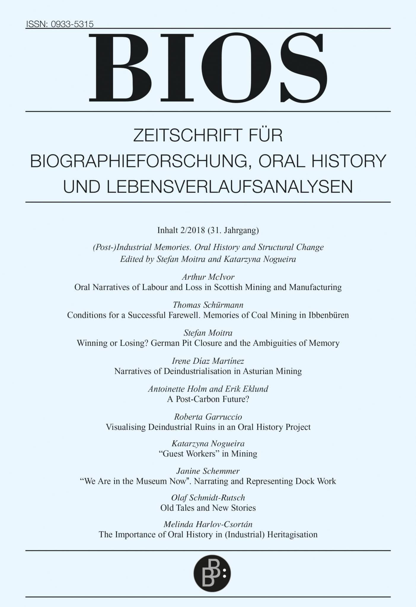 BIOS – Zeitschrift für Biographieforschung, Oral History und Lebensverlaufsanalysen 2-2018: