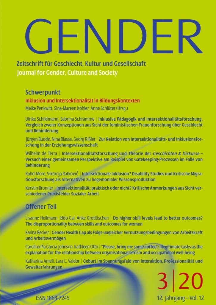 GENDER – Zeitschrift für Geschlecht, Kultur und Gesellschaft 3-2020: Inklusion und Intersektionalität in institutionellen Bildungskontexten
