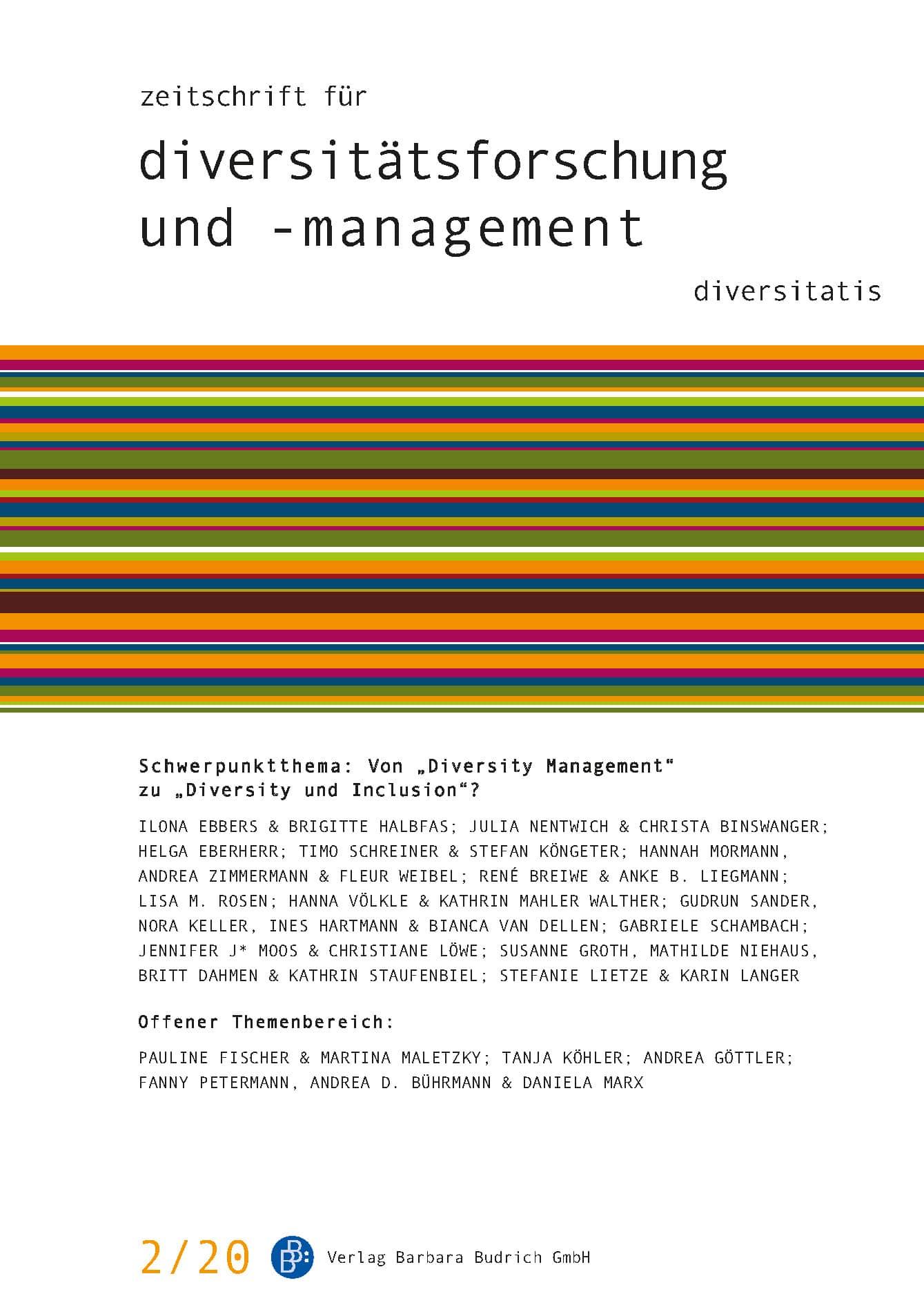 """ZDfm – Zeitschrift für Diversitätsforschung und -management 2-2020: Von """"Diversity Management"""" zu """"Diversity und Inclusion""""?"""