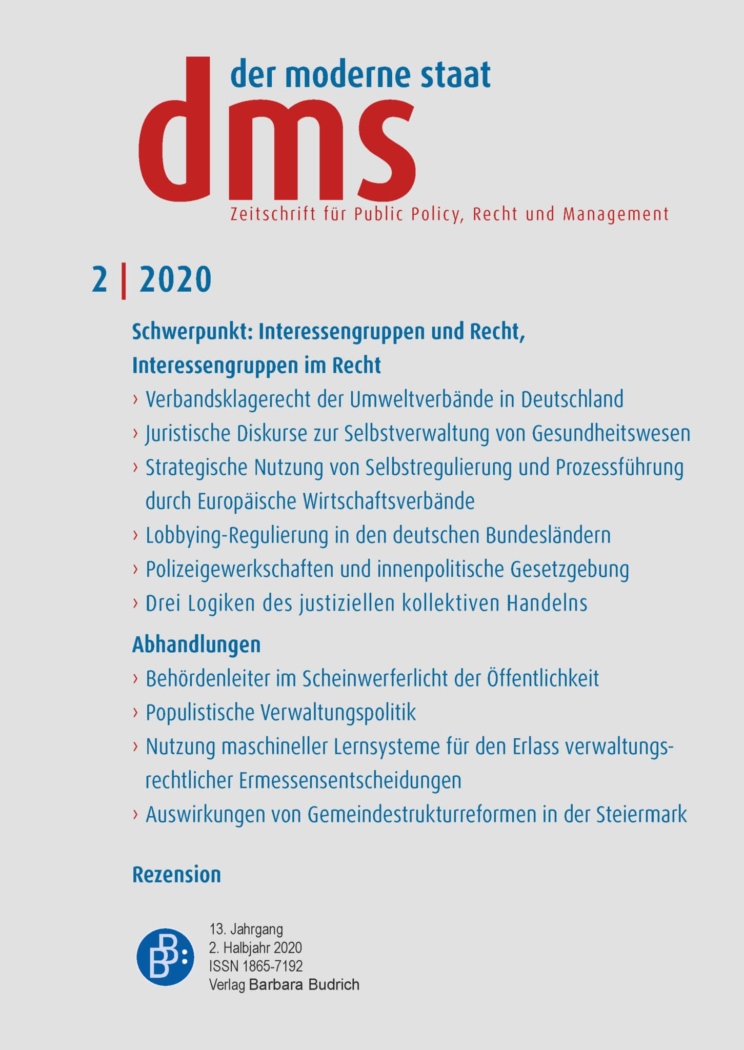 dms – der moderne staat – Zeitschrift für Public Policy, Recht und Management 2-2020: Interessengruppen und Recht, Interessengruppen im Recht