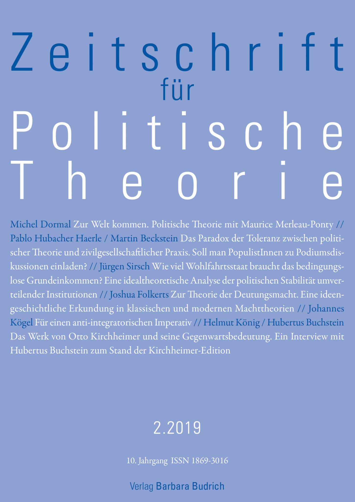 ZPTh – Zeitschrift für Politische Theorie 2-2019: Freie Beiträge