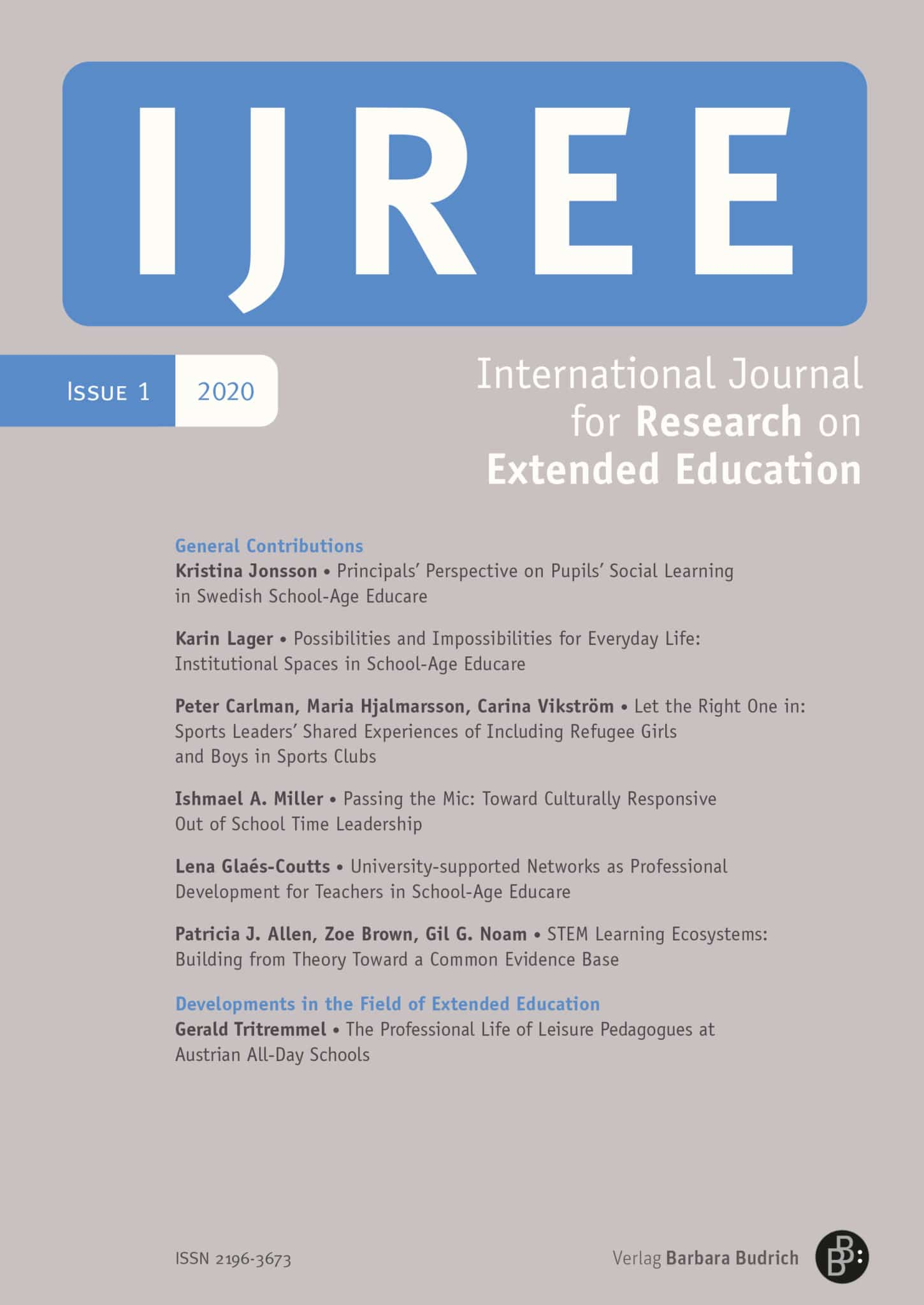 IJREE – International Journal for Research on Extended Education 1-2020: Free Contributions