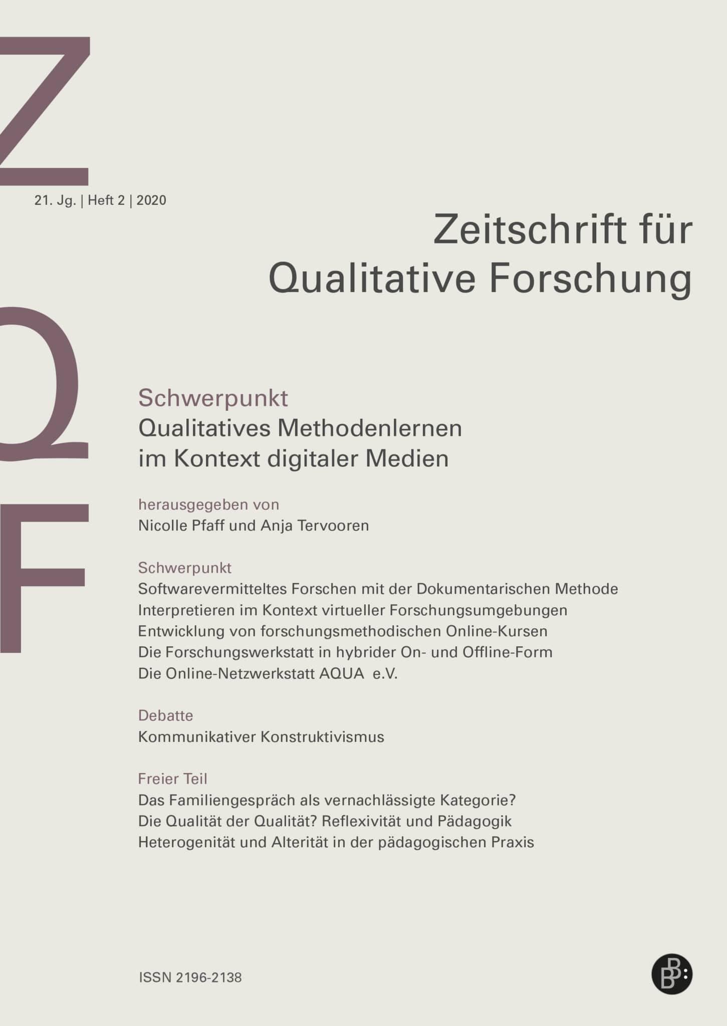 ZQF – Zeitschrift für Qualitative Forschung 2-2020: Qualitatives Methodenlernen im Kontext digitaler Medien