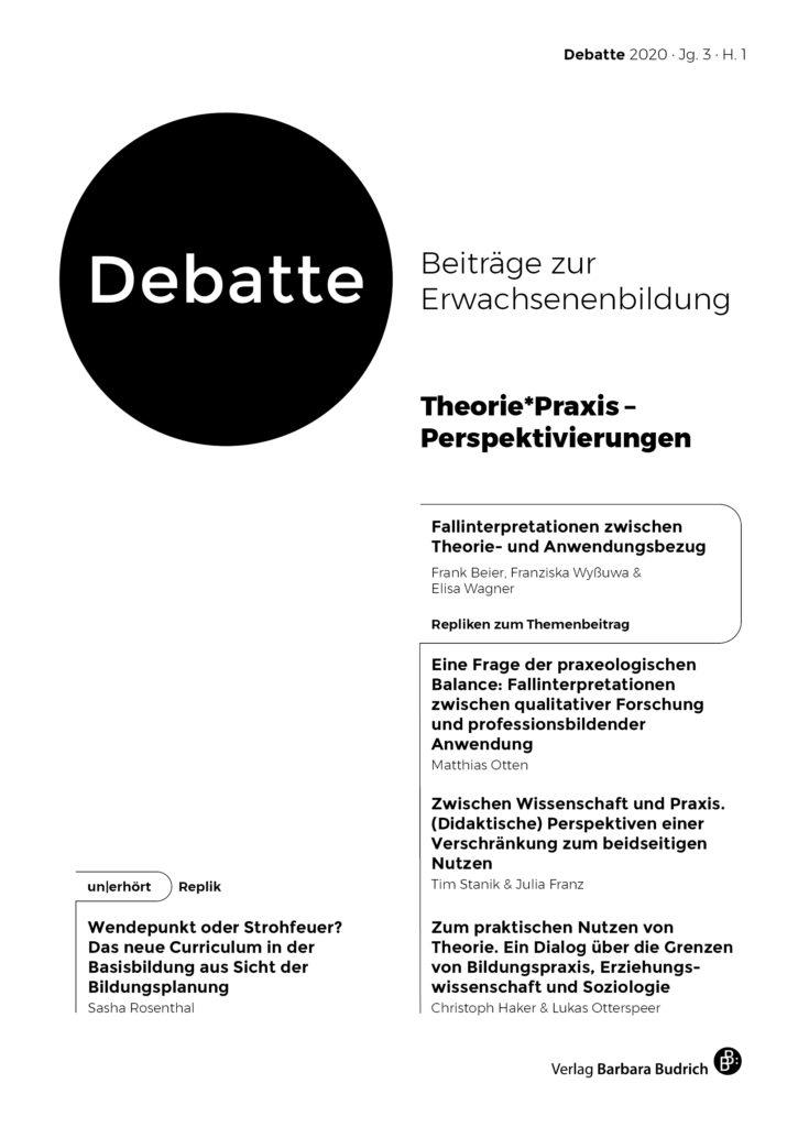 Debatte. Beiträge zur Erwachsenenbildung 1-2020: Theorie*Praxis – Perspektivierungen