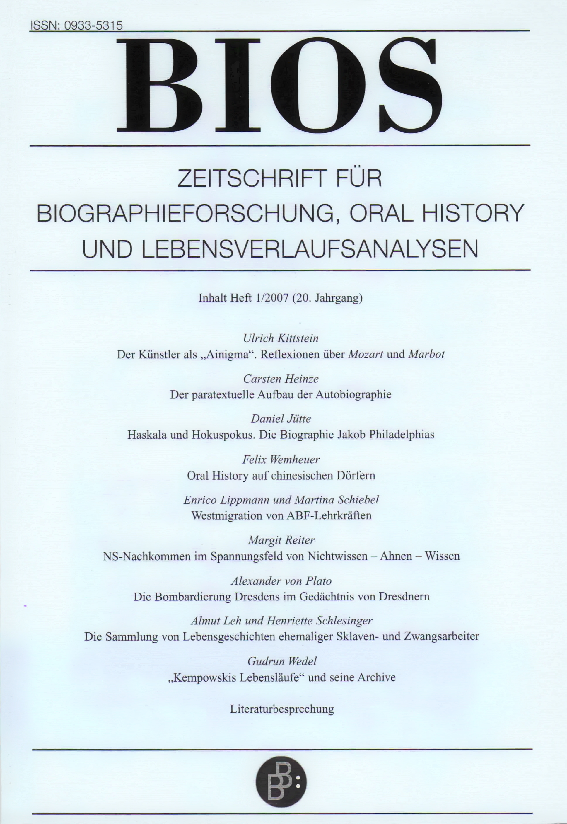 BIOS 1-2007 | Freie Beiträge