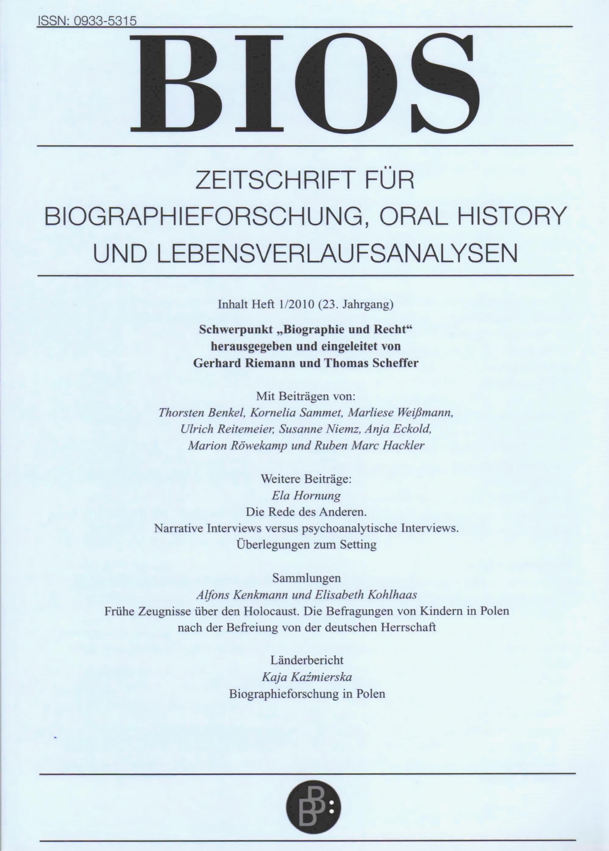 BIOS 1-2010 | Biographie und Recht