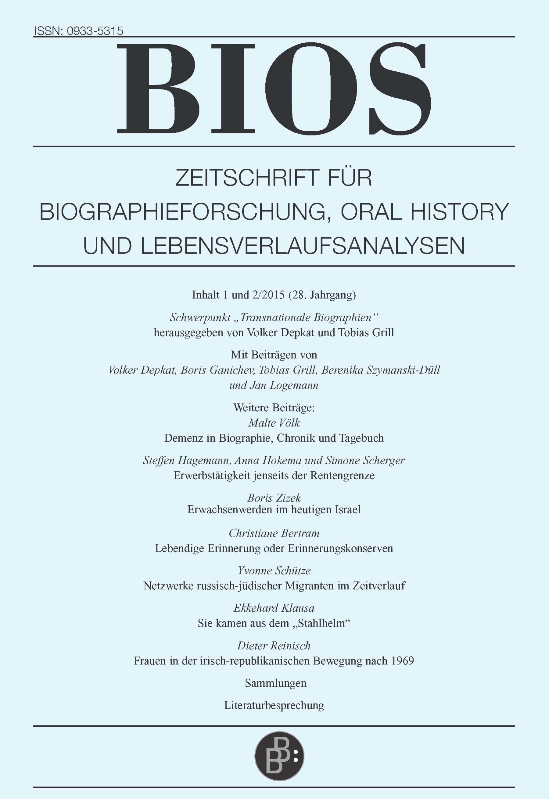 BIOS 1+2-2015 | Transnationale Biographien