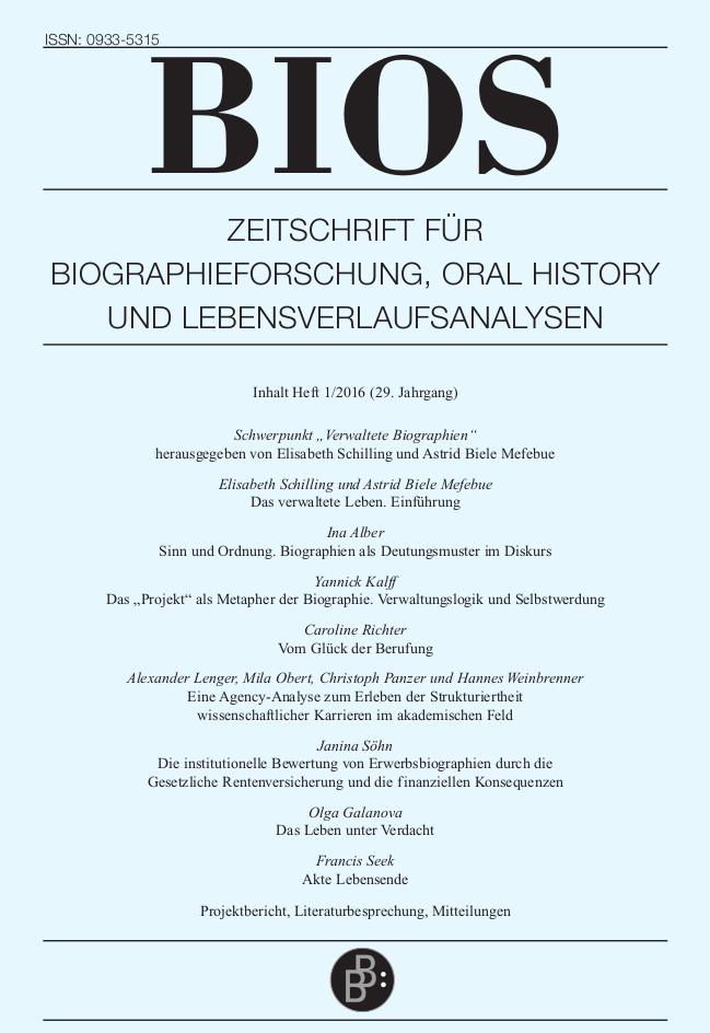 BIOS 1-2016 | Verwaltete Biographien