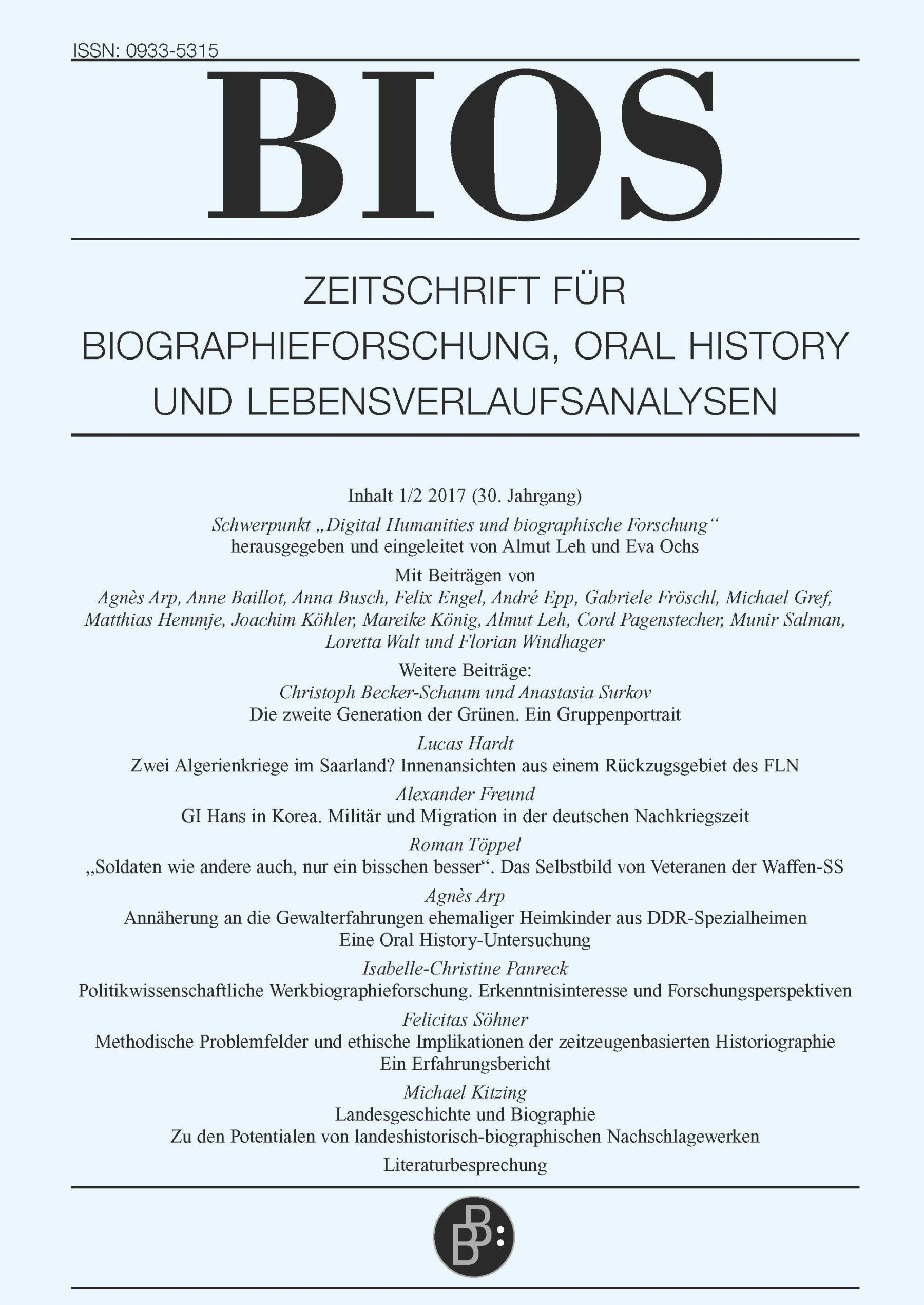 BIOS 1+2-2017 | Digital Humanities und biographische Forschung