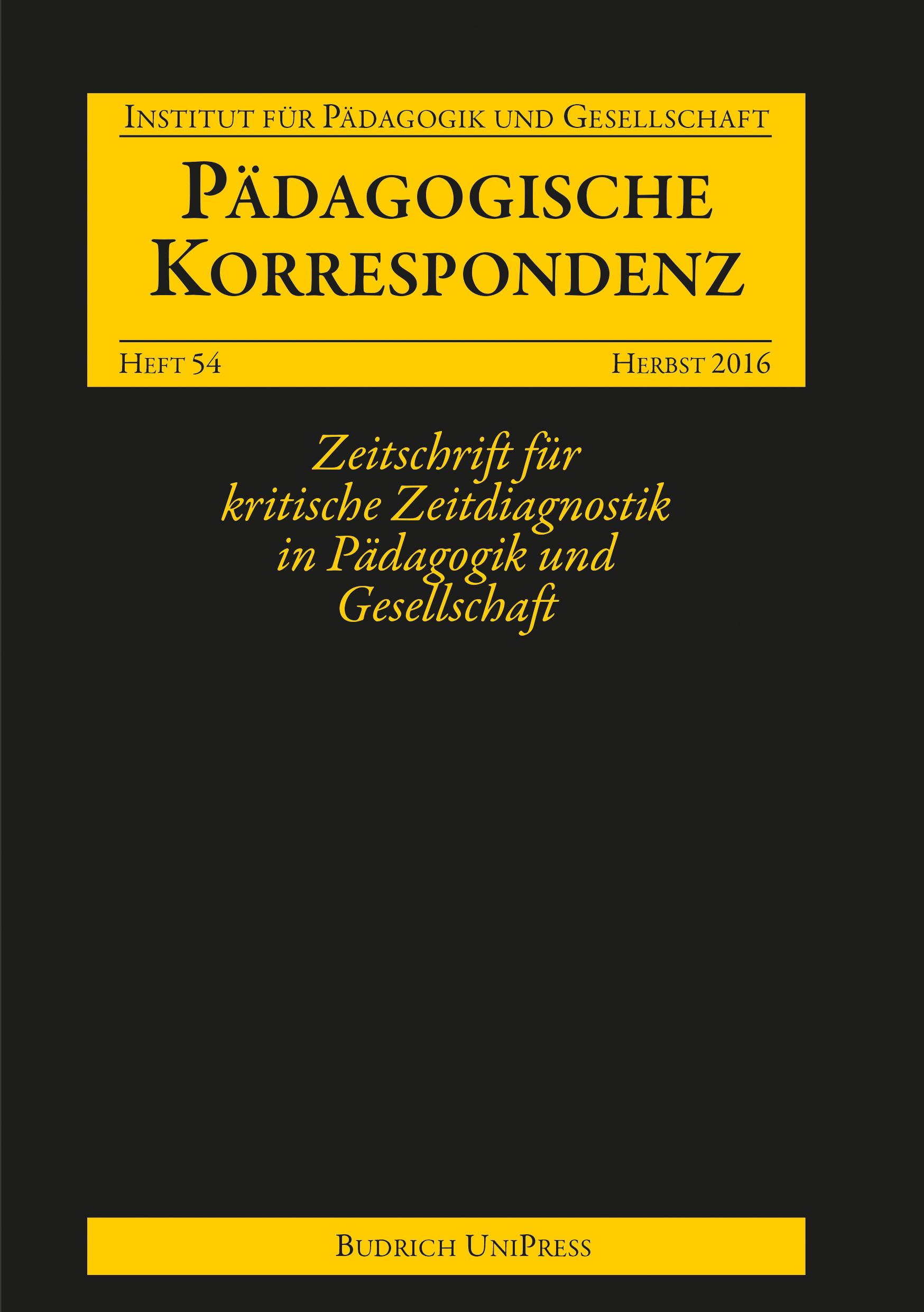 Heft 54 | 2-2016 | Pädagogische Korrespondenz
