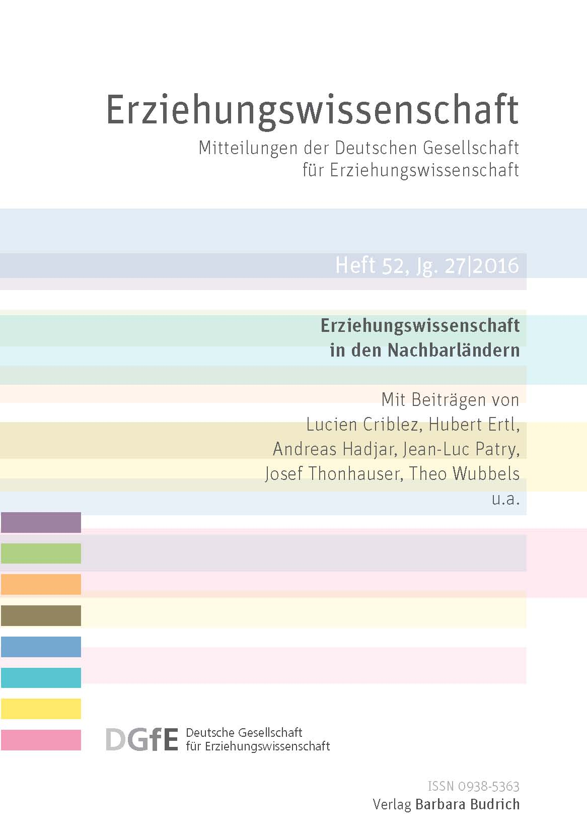 Erziehungswissenschaft 1-2016 (Heft 52) | Erziehungswissenschaft in den Nachbarländern