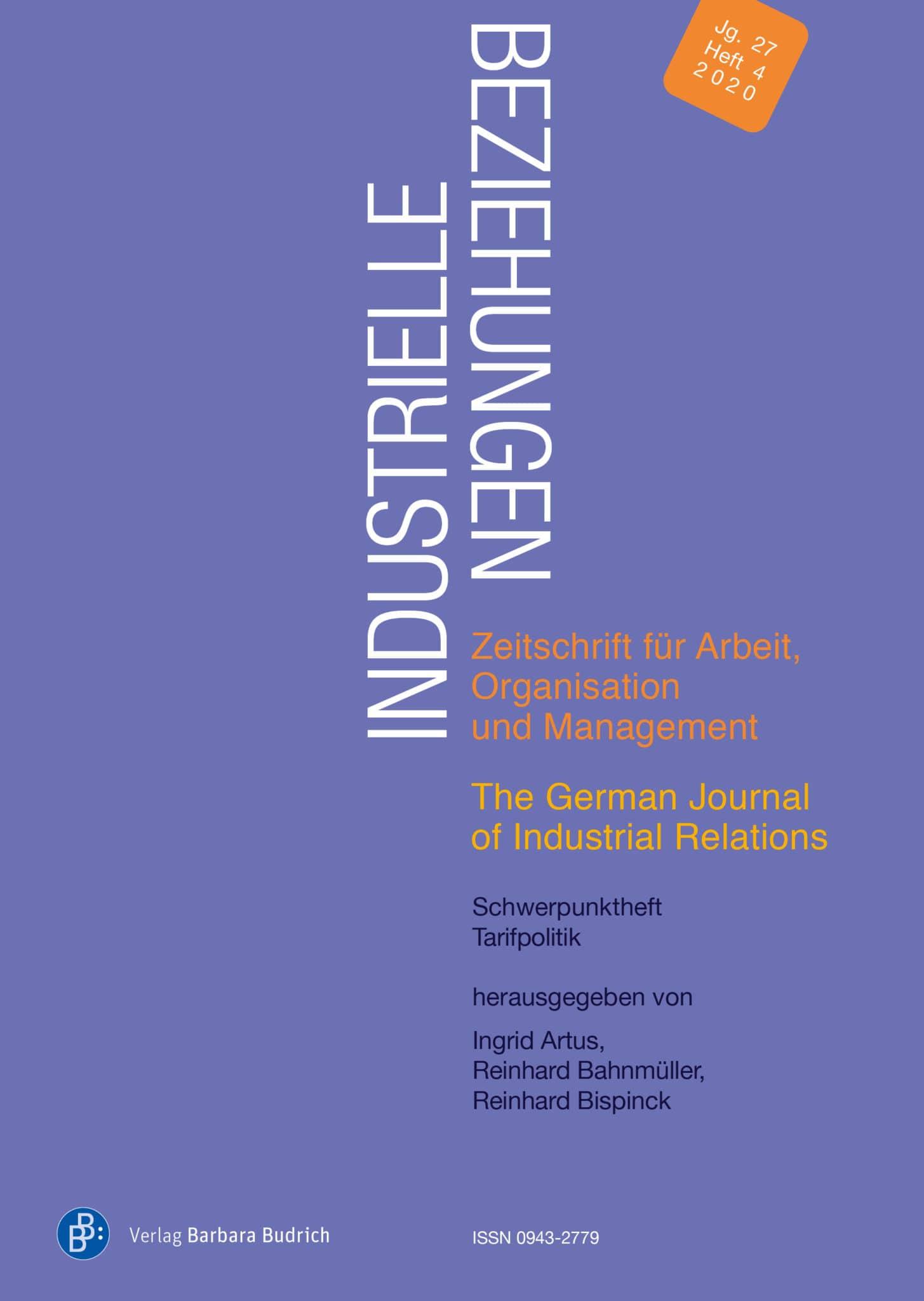 Industrielle Beziehungen. Zeitschrift für Arbeit, Organisation und Management