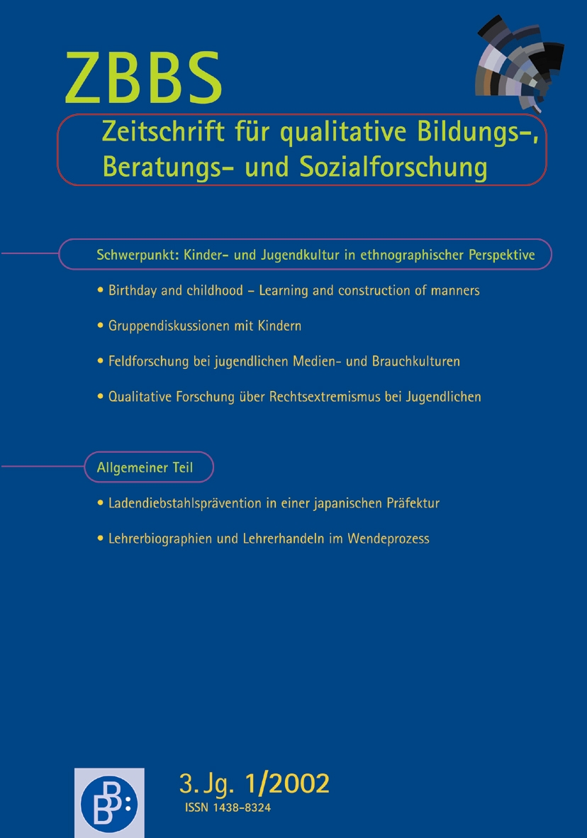 Heft 1-2002 | ZBBS - Zeitschrift für qualitative Bildungs-, Beratungs- und Sozialforschung - heute ZQF