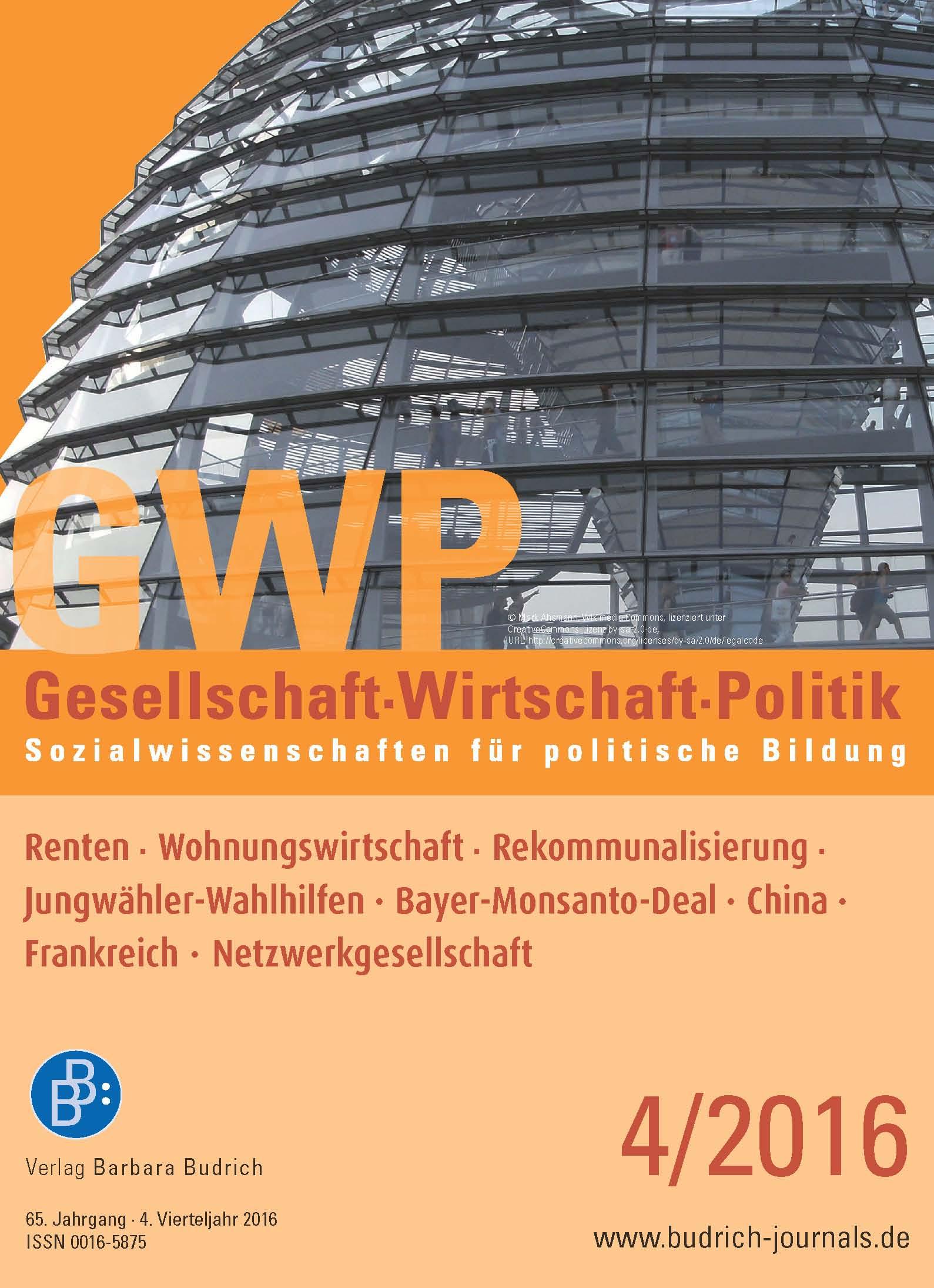Heft 4-2016 | GWP - Gesellschaft. Wirtschaft. Politik