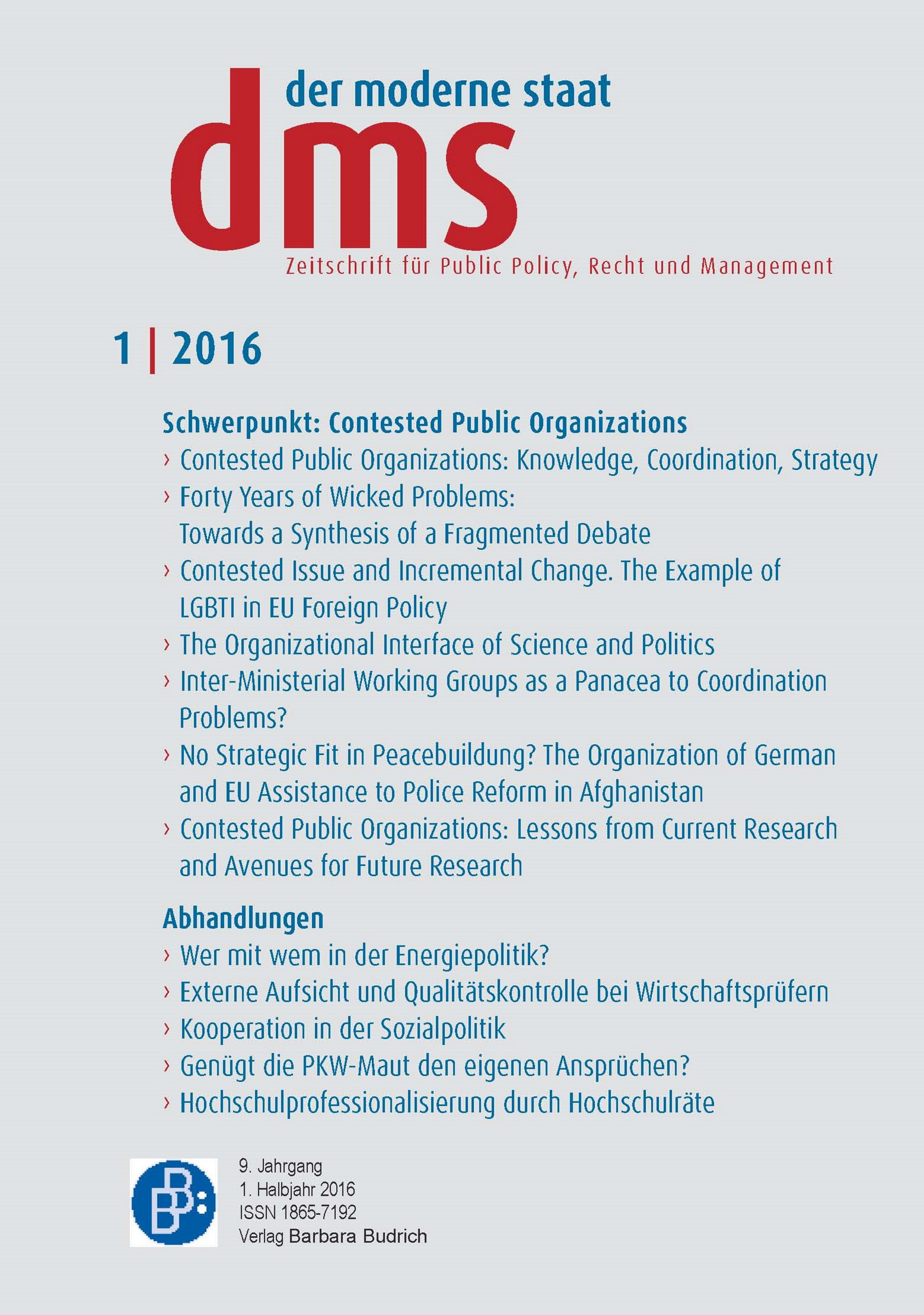 "dms 1-2016 | ""Contested Public Organizations: Knowledge, Coordination, Strategy"""