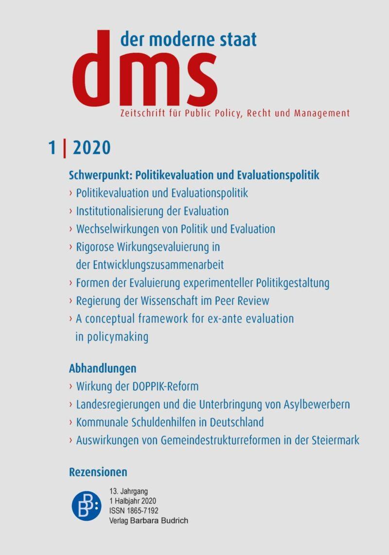 dms 1-2020 | Politikevaluation und Evaluationspolitik