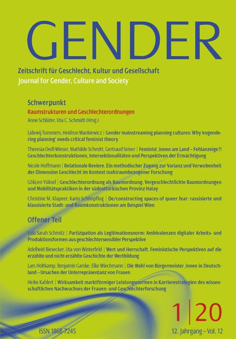 GENDER 1-2020 | Raumstrukturen und Geschlechterordnungen