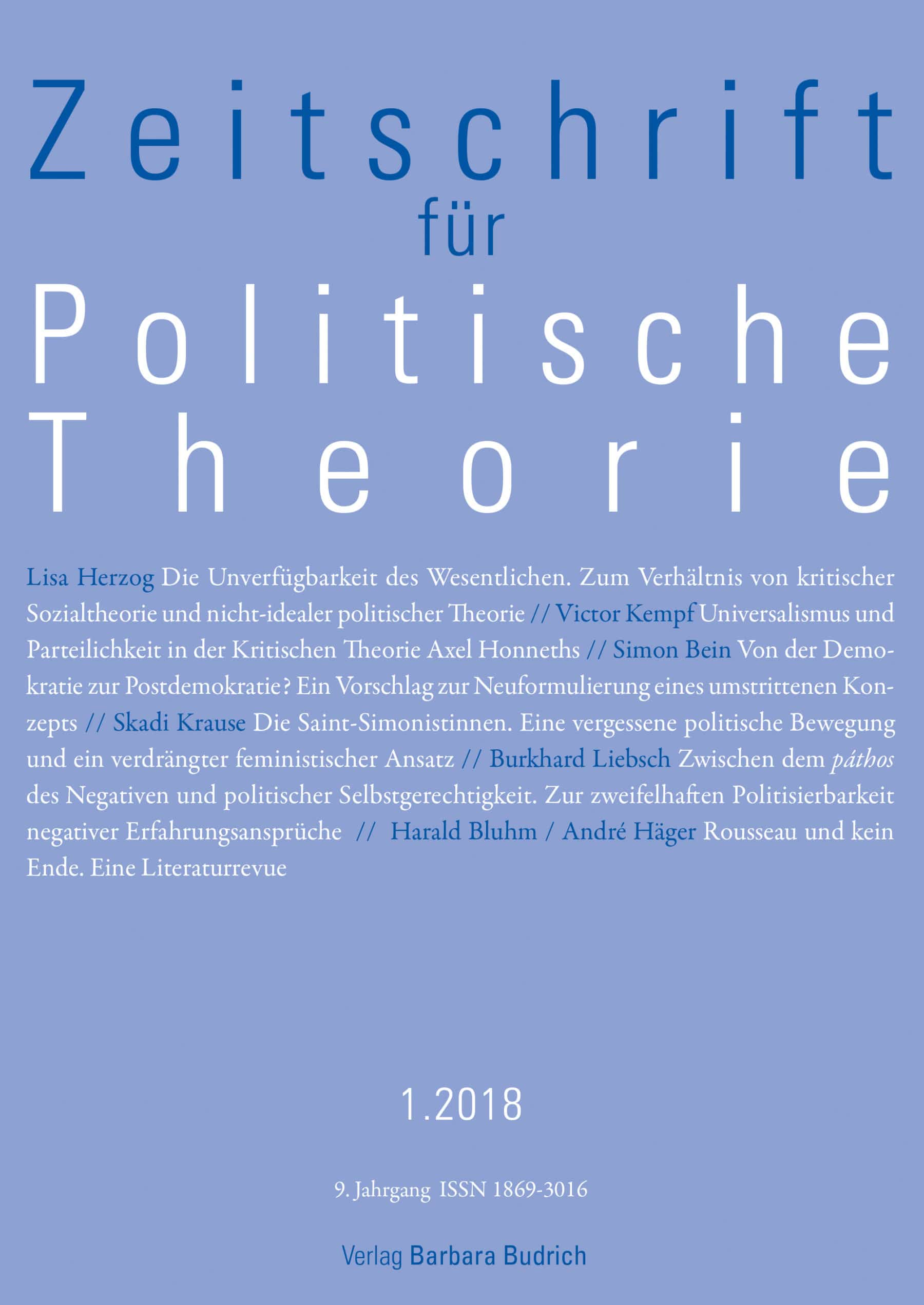ZPTh 1-2018 | Freie Beiträge