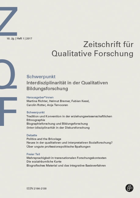 ZQF 1-2017 | Interdisziplinarität in der Qualitativen Bildungsforschung