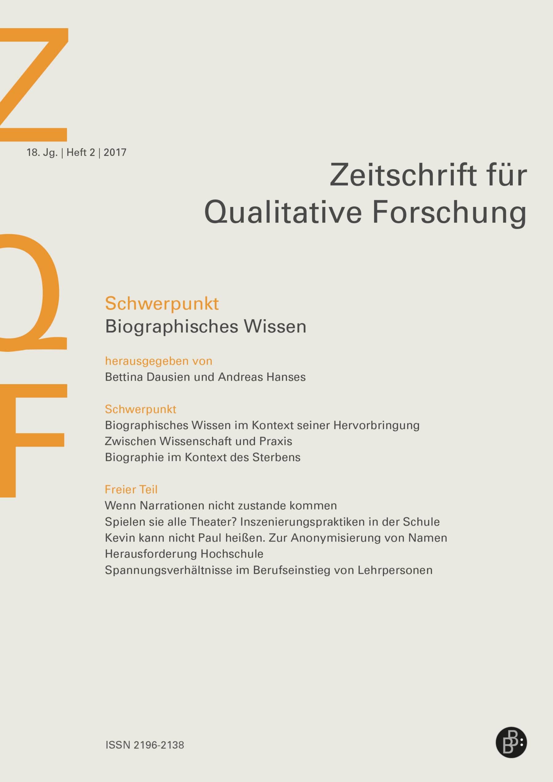Probeheft - ZQF - Zeitschrift für Qualitative Forschung