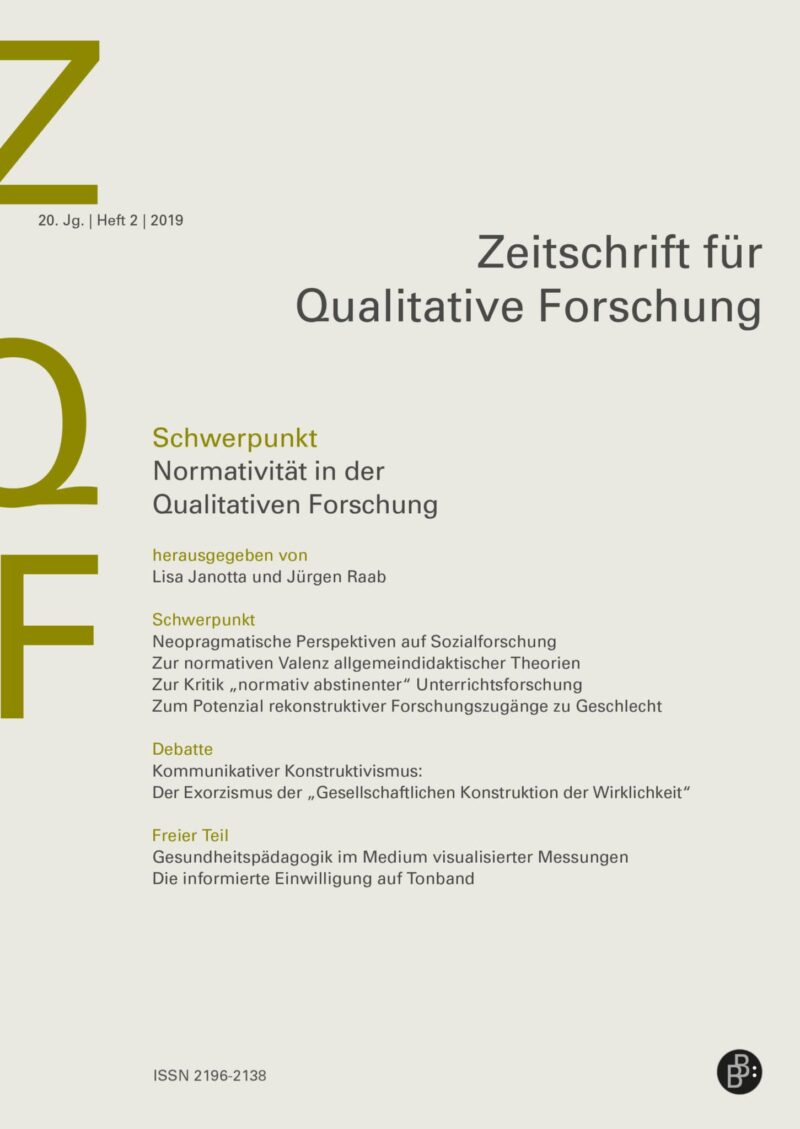 ZQF 2-2019 | Normativität in der Qualitativen Forschung