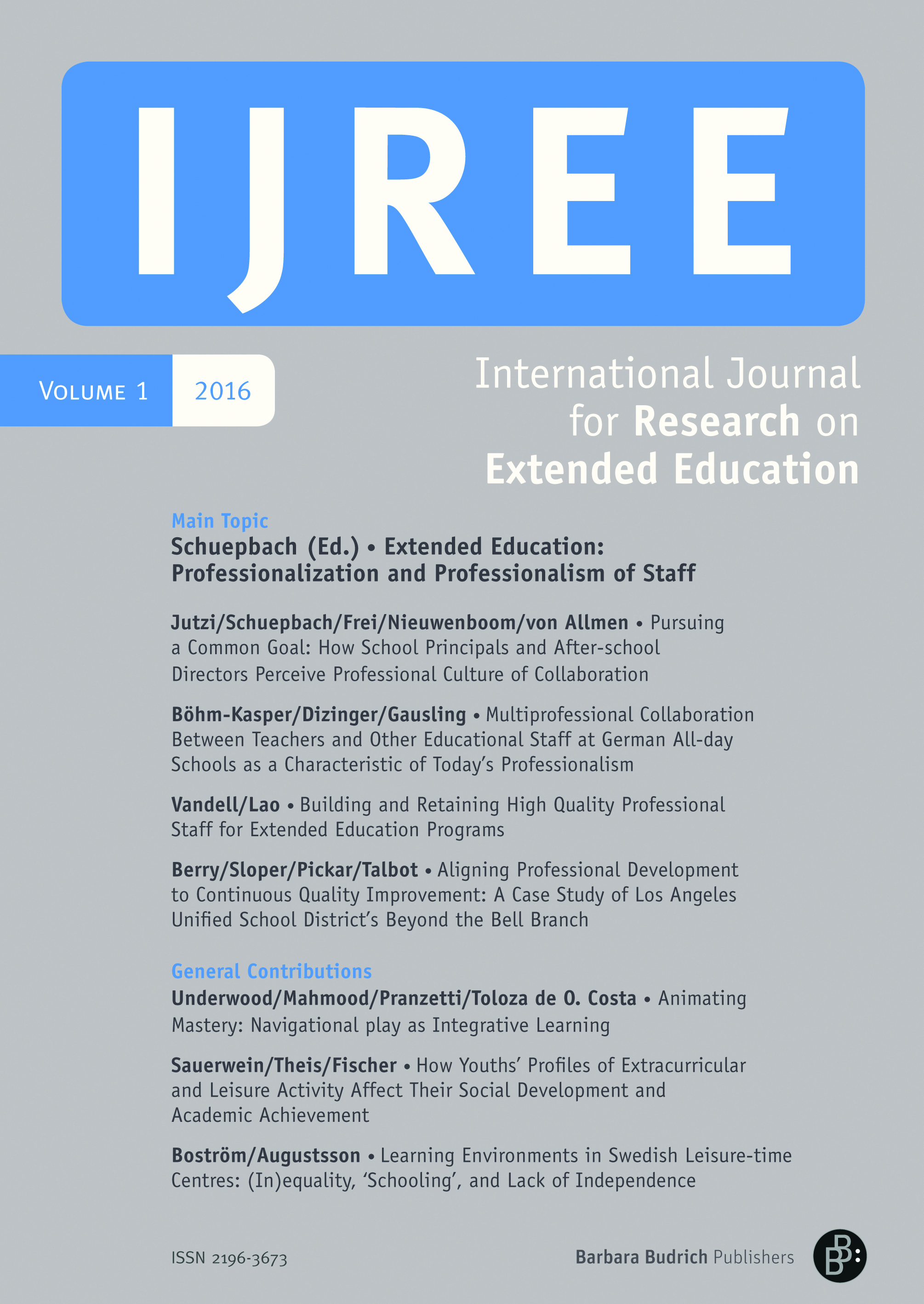 IJREE 1-2016 | Professionalization and Professionalism of Staff