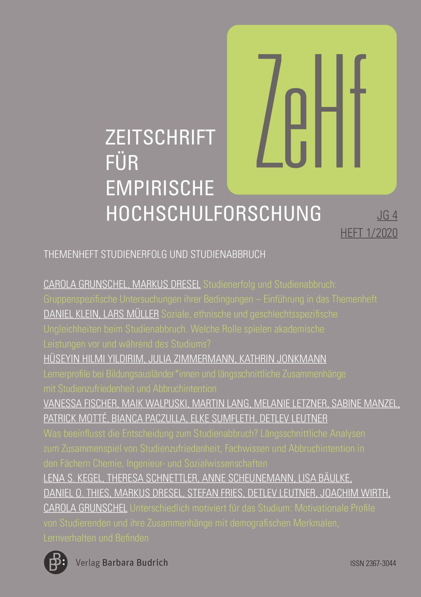 ZeHf – Zeitschrift für empirische Hochschulforschung 1-2020: Studienerfolg und Studienabbruch