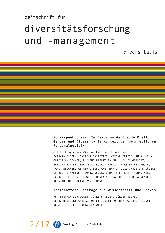 ZDfm 2-2017 | In Memoriam Gertraude Krell. Gender und Diversity im Kontext der betrieblichen Personalpolitik