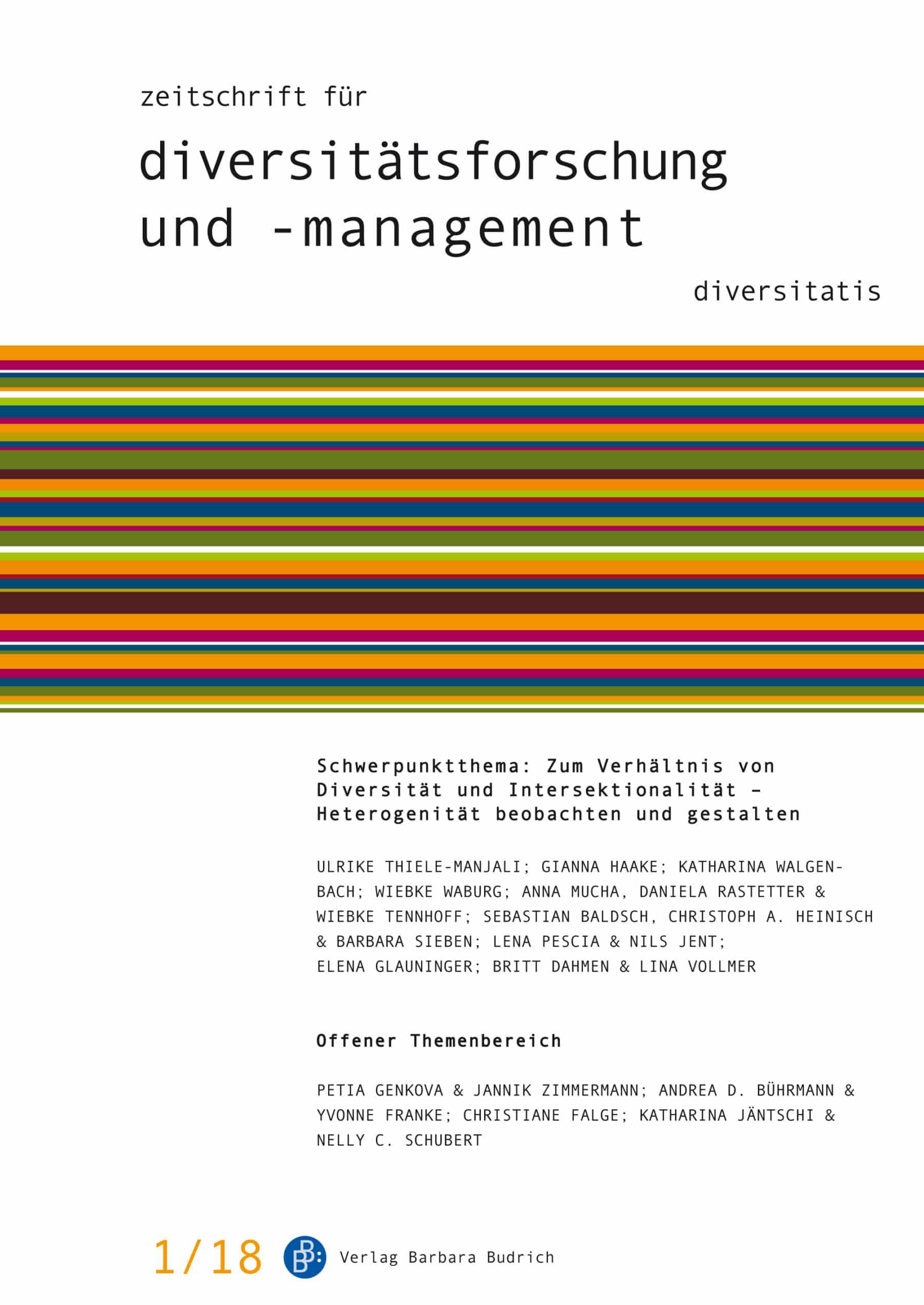 ZDfm 1-2018 | Zum Verhältnis von Diversität und Intersektionalität – Heterogenität beobachten und gestalten