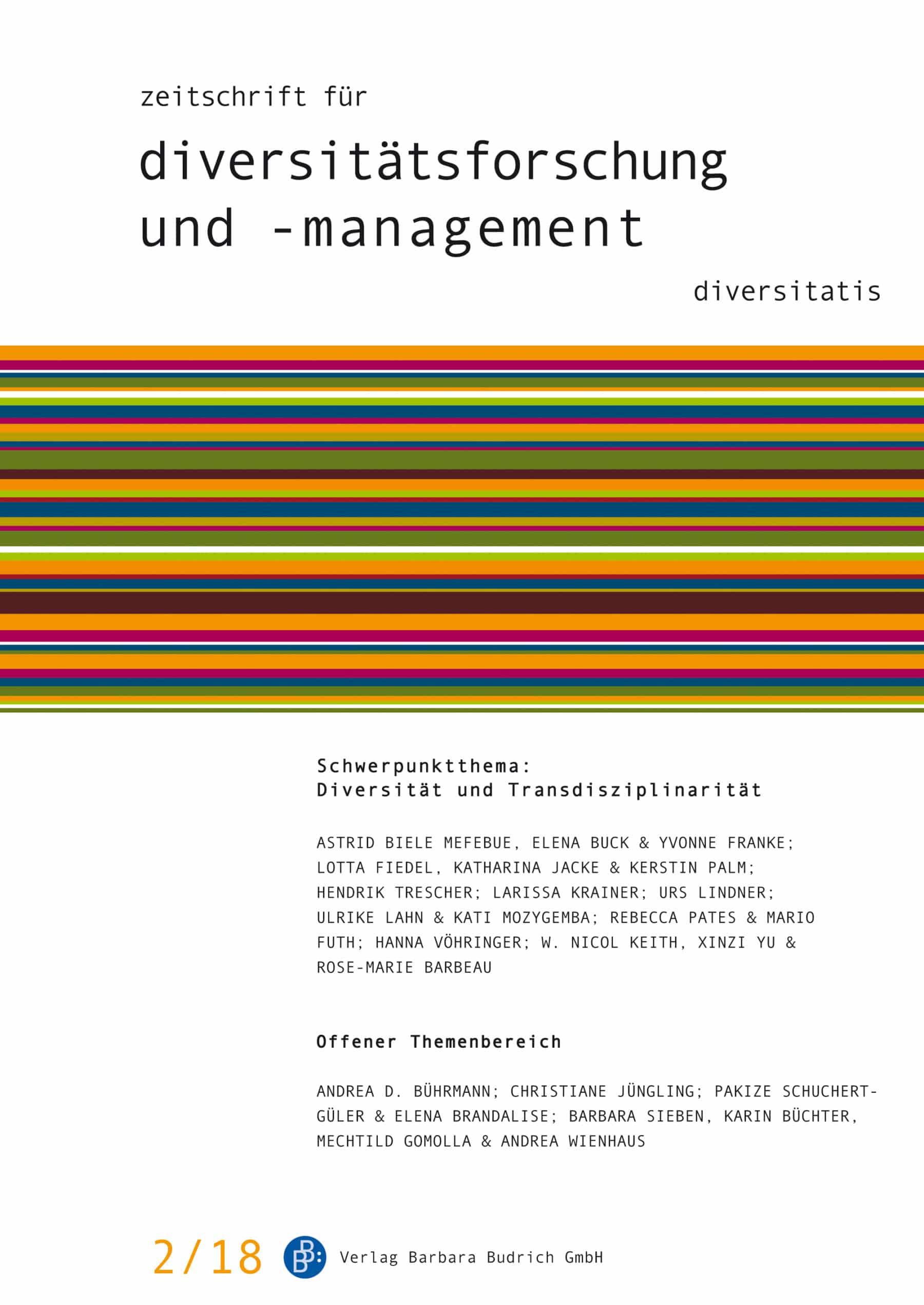 ZDfm 2-2018 | Diversität und Transdisziplinarität