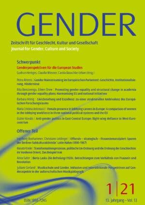 GENDER – Zeitschrift für Geschlecht, Kultur und Gesellschaft 1-2021: Genderperspektiven für die European Studies