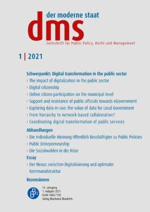 dms – der moderne staat – Zeitschrift für Public Policy, Recht und Management 1-2021: Digital transformation in the public sector: from design to impact