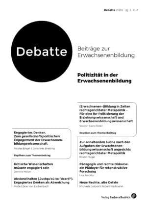 Debatte. Beiträge zur Erwachsenenbildung 2-2020: Politizität in der Erwachsenenbildung